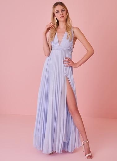 morhipo x dcey Sırtı Çapraz Bantlı Pliseli Elbise Mavi